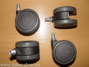 4-mal-Moebelrolle-Gummi-grau-65-mm-Gewinde-M10-Hartbodenrolle-Fliesen-Laminat