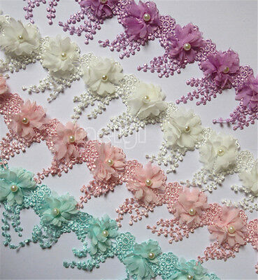 1y Fringe Pearl Lace Trimming Vintage Wedding Bridal Tassel Chiffon Ribbon Craft