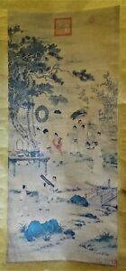 Chinese scroll painting after Qianlong Emperor Study after Giuseppe Castiglione