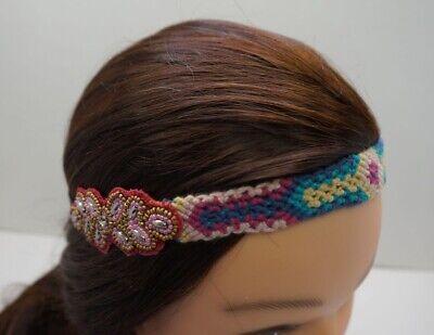 Beige Yellow Stretchy Woven Boho Headband