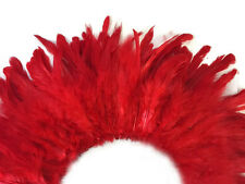 "Rooster Feathers | Strung Rooster Schlappen - 4"" Strip, Red"