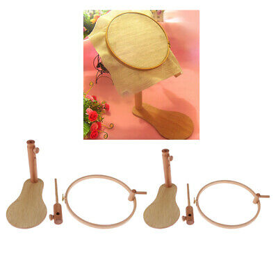 24//28cm Round Wood Embroidery Frame Adjustable Wood Cross Stitch Rack Stand Desk