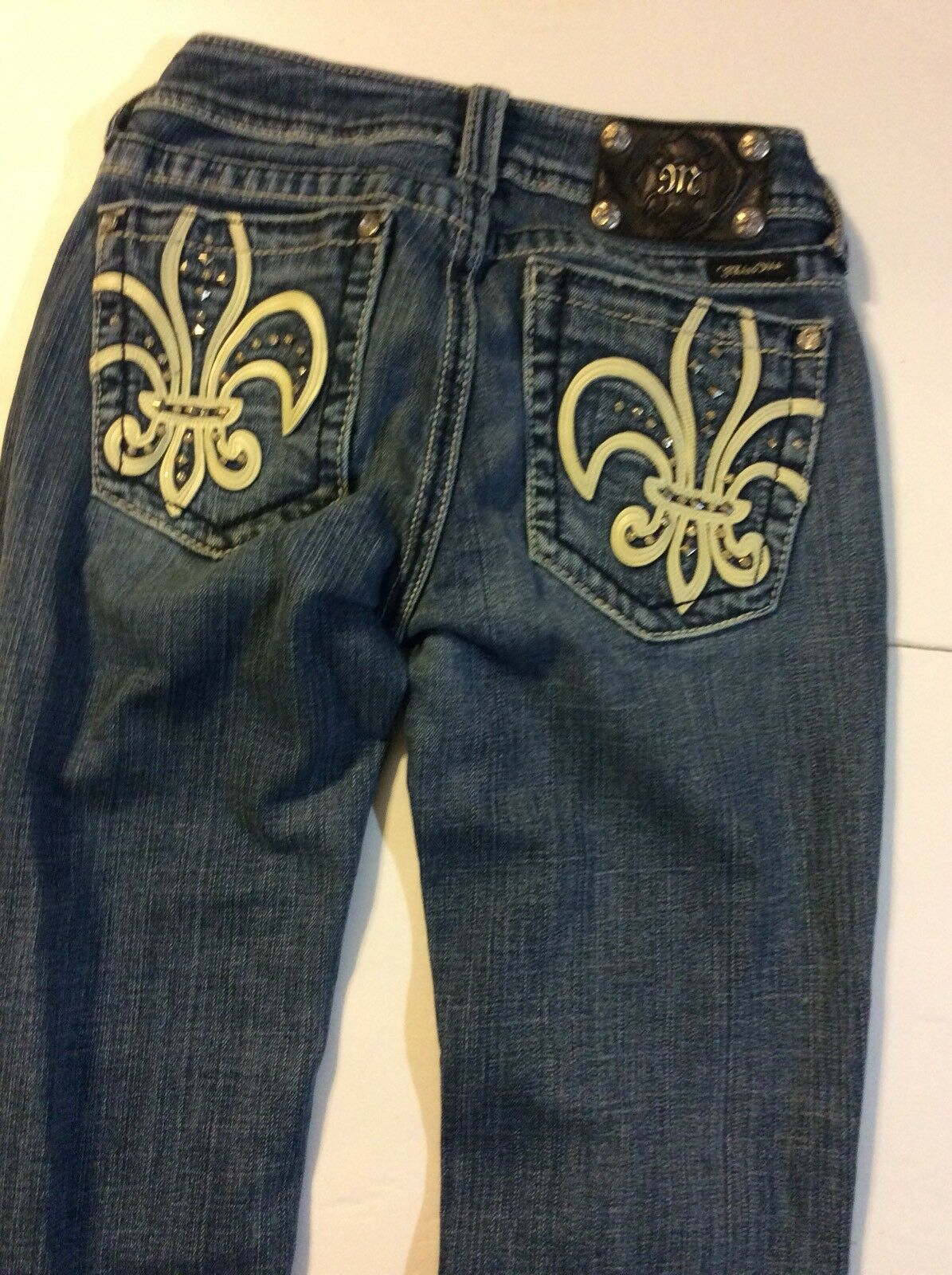MISS ME WOMEN'S DISTRESSED BOOT CUT JEANS 28 x 34 1-y