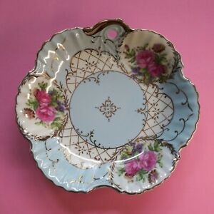Vintage-Lefton-China-Hand-Painted-Blue-White-Pink-Floral-Bowl-Dish-KF3-53