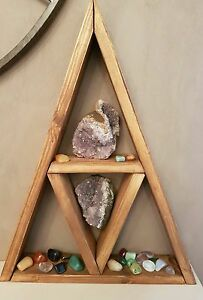 Handmade-Wooden-Triangle-Shelf-for-displaying-of-ornaments-and-crystals-etc