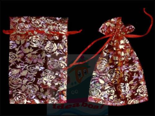 25//50//100PCS Print Pattern 18cmx12cm Organza Jewelry Pouches Wedding Gift Bags