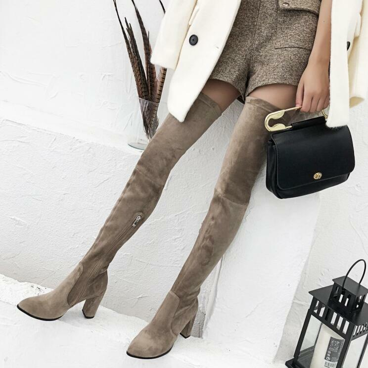 Womens Slim Over Knee Suede Warm Boots Winter Pointed Toe Chunky High Heels U608