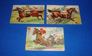 Vintage-Lot-of-Three-Thiele-Horse-Racing-Postcards