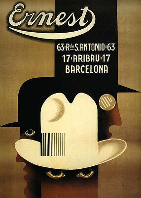 Ernest Fashion Man Hat Barcelona Spain Vintage Poster Reproduction FREE S//H
