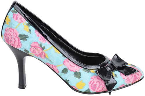 Inamagura Glitter Flower Bow Schleifen Pumps High Heels Türkis Rockabilly