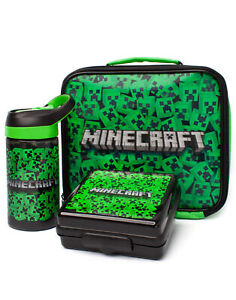 Minecraft Lunch Bag Set Creeper (Lunch Box, Water Bottle, Snack Pot) One Size