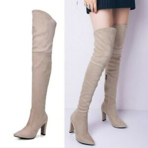 Ladies Over The Knee Stretch Boots Pointy Toe Block Heels Fashion Casual Booties