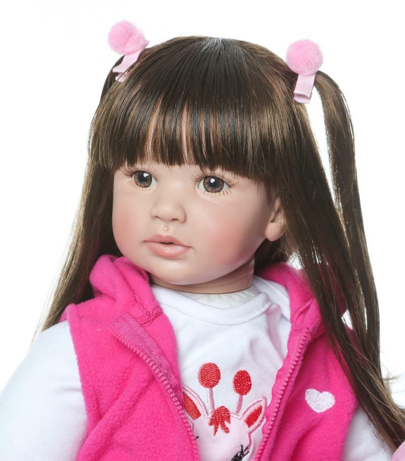 Toddler Reborn Baby Dolls 24  Handmade Vinyl Silicone Long Hair Girl Doll Gift