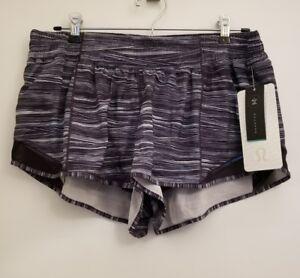 9e8778b11c2817 Lululemon Hotty Hot Short II NWT SZ 12 LWWB/BLK Striped Pattern ...