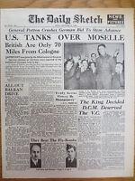 WW2 Wartime Newspaper Daily Sketch September 8 1944 US Tanks Birthday