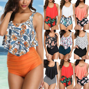 Women-Swimwear-High-Waisted-Ruffled-Tummy-Control-Bikini-Tankini-Set-Swimsuit