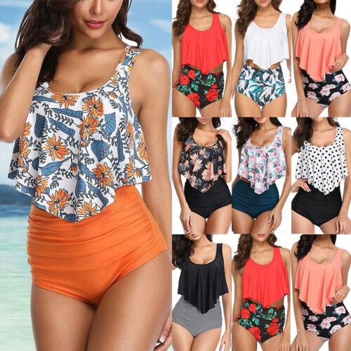 Damen Hohe Taille Bikini Set Schwimmanzug Gepolsterter Rüsche Crop Top Badeanzug