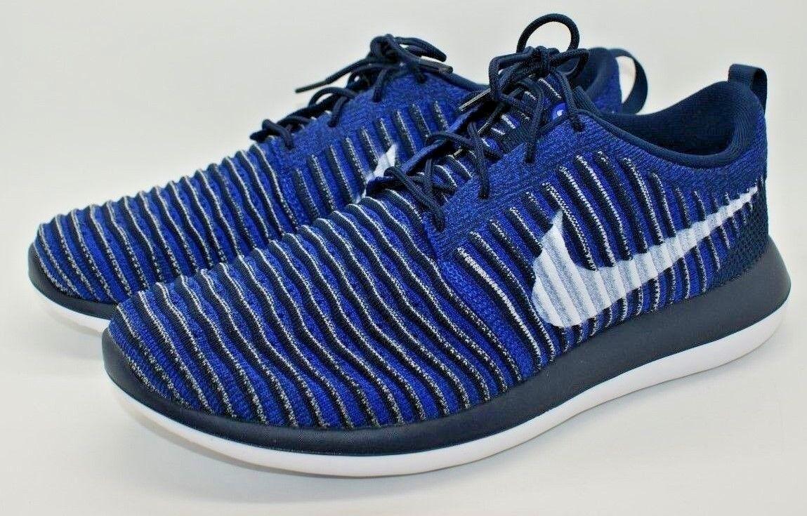 Nike Roshe Two Flyknit Men Running Turnschuhe Turnschuhe Turnschuhe schuhe College Navy Blau 844833 10 NEW e1fde9
