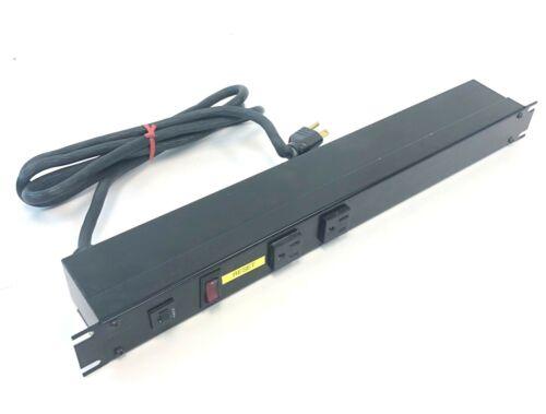 "Hammond Rack Mount Power Strip 19/"" 15A Breaker 6 Outlet 120V Black 1583H6A1BKX"