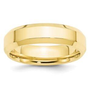 10k Yellow Gold 5mm Bevel Edge Comfort Fit Mens Womens Wedding Anniversary Band