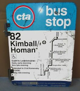 Used-Vtg-CTA-Bus-Stop-82-KIMBALL-HOMAN-Chicago-Aluminum-Sign-24-x-18-S615
