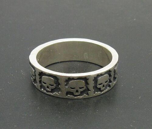 Sterling Silver biker ring Solid 925 Crânes Bande R000701 EMPRESS