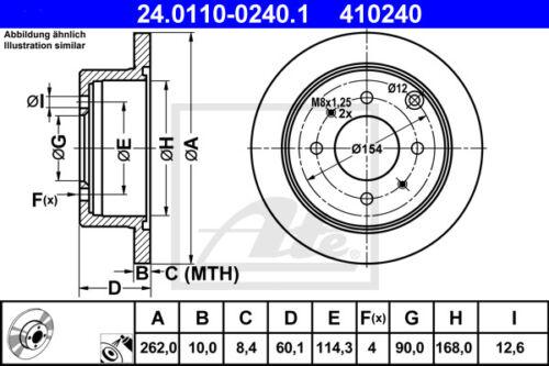 24.0110-0240.1 für MITSUBISHI LANCER VII HA 2x ATE Bremsscheibe Hinterachse