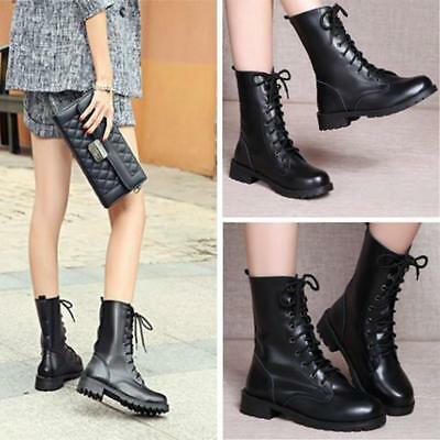 New Womens' Black Military Punk Knight Lace-up Short Martin Boot Shoes EU 37-42