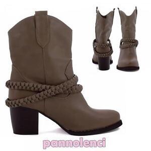economico per lo sconto 020dd 277a7 Dettagli su Stivali texani bassi cinturino intrecciato scarpe donna  stivaletti nuovi Y1627
