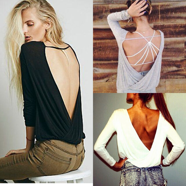 NEW Women Casual Long Sleeve Backless Sexy Blouse T-shirt Crewneck Blouse Tops