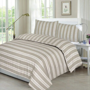 DUVET-COVER-NATURAL-STRIPE-WITH-PILLOW-CASE-BEDDING-SET-SINGLE-DOUBLE-KING