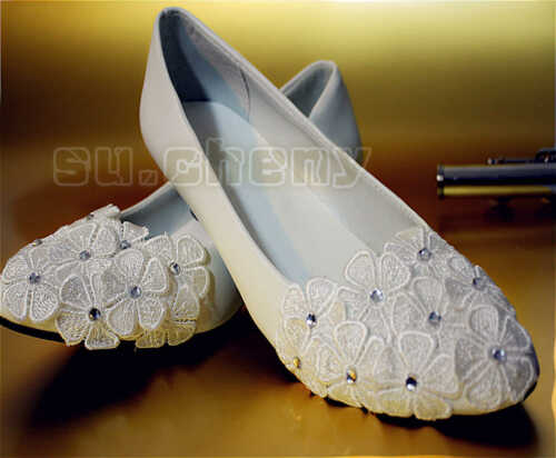 su.cheny Flats wedges heels white lace pearls rhinestone Wedding Bridal shoes