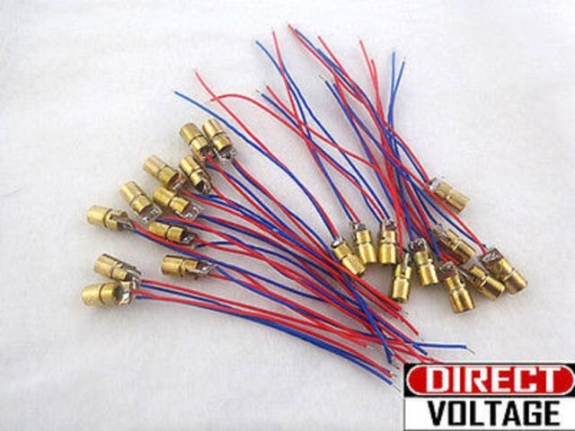 10 PCS 3V 650nm 6mm 5mW Mini Tube Laser Dot Diode Module Copper Head WL Red