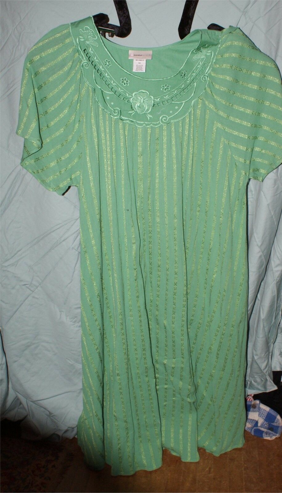 COMFORT CHOICE COTTON GREEN EMBROIDERY HOUSE DRESS     Plus Size 4X 3d748e