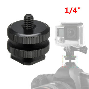 """1/4"""" Dual Thumb Screw Flash Cold Hot Shoe Camera Adapter Mount for GoPro DSLR"""