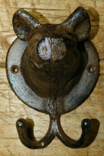HUGE 3 D Cast Iron Antique Style PIG Coat Hooks Hat Hook Rack Towel HOG PIGGY