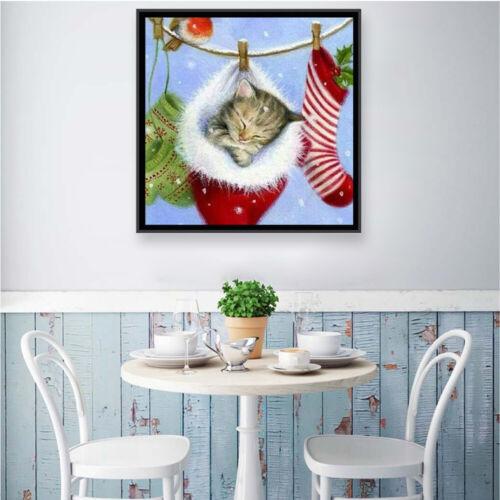 Christmas Hat Cat 5D Full Drill Diamond Painting Kit Gift Cross Stitch Kit Decor