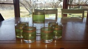 Vintage Juice Pitcher and glass set Green Gold design by WV Glass company 7pc