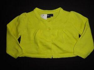 Baby Gap Girls Lime Green Puff Sleeve Cardigan Sweater 6-12 Months