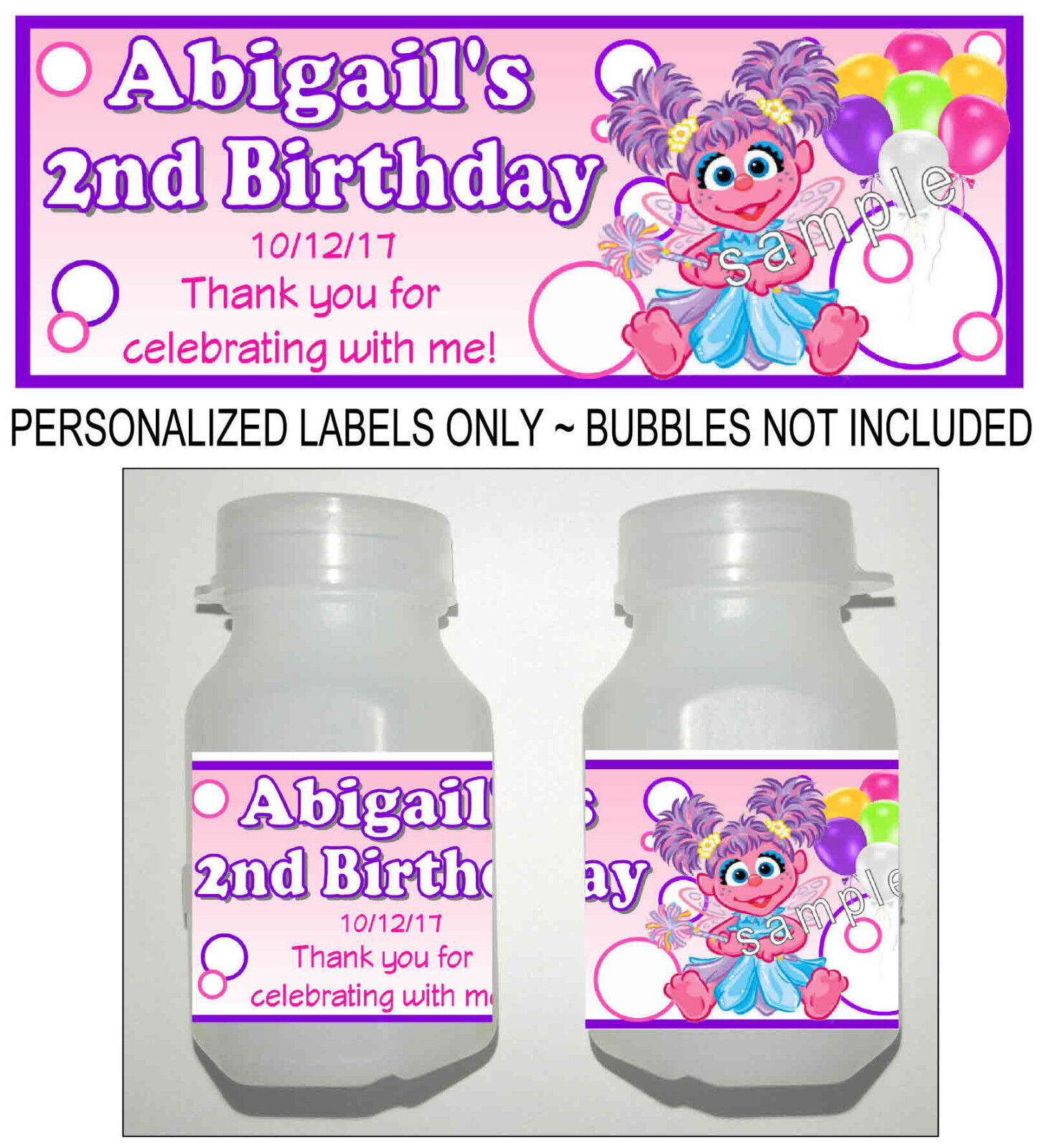 ABBY CADABBY CAPRI SUN LABELS BIRTHDAY PARTY FAVORS Suns JUICE STICKERS SUPPLIES
