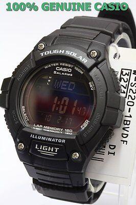 W-S220-1B 120 Lap Memory Casio Watch Tough Solar Sporty Black WS-220-1