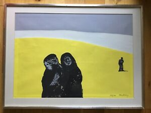 Large-Contemporary-Ltd-Edt-Abstract-Print-3-Figures-On-A-Yellow-Landscape-Signed