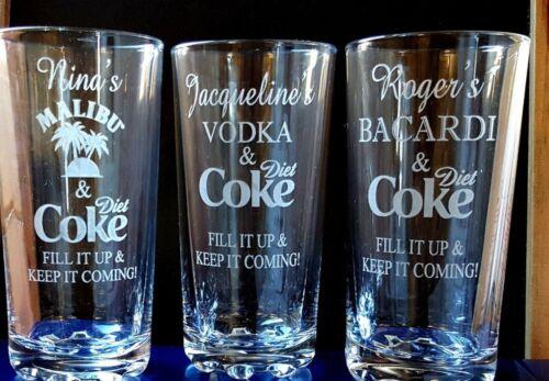 Personalised Engraved Hi ball mixer GLASS JACK DANIELS AND DIET COKE JD COKE