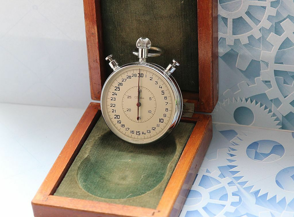 SLAVA with wooden box USSR vintage mechanical stopwatch