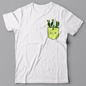 34705271 Funny T-shirt with Printed Pocket - CACTUS - HUG ME - Graphic Tee | eBay