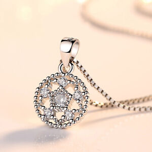 925-Silver-Crystal-Round-Flower-Pendant-Necklace-Women-Fashion-Jewelry-E208