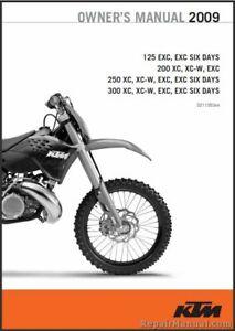 2009 Ktm 125 200 250 300 Xc Xc W Exc Printed Motorcycle Owners Manual Ebay