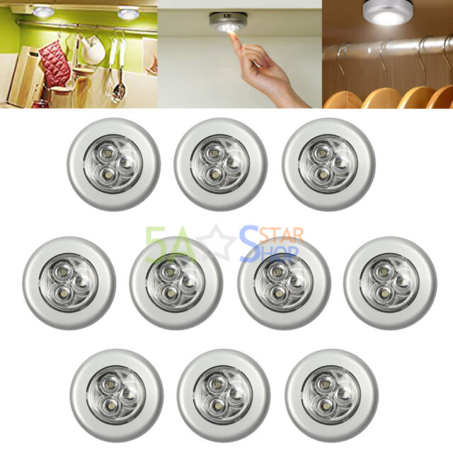 10pcs 3 LED Touch Push On/off Light Self Stick On Click Battery Operated