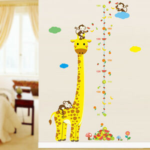 Animal giraffe monkey fruit height measure sticker growth chart