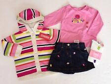 NWT Gymboree Candy Shoppe 12-18 Striped Hoodie Denim Skirt Candy Tee & Tights